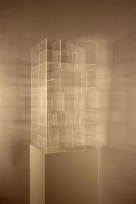 Perspex pieces, assembled in layers to house objects